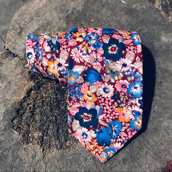Orvis Other - Orvis vintage fall floral wide tie blue burgundy